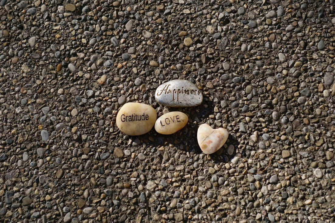 Rocks printed with words Affirmations Arrangement Close-up Conceptual Feelings Ground No People Outdoors Pebble Positive Vibes Rocks Still Life Stone - Object Words Gratitude Love Happiness