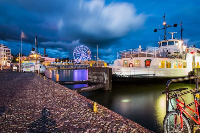 Transportation Nautical Vessel Mode Of Transport Water Architecture Built Structure Boat Sky Travel Building Exterior Illuminated Blue Tourism River Cloud - Sky Cloud Outdoors Sea No People Famous Place Helsinki Finland Finland Summer