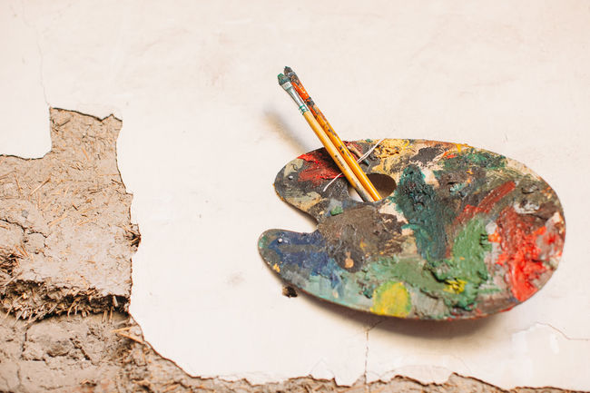 Art And Craft Art Studio Brush Color Colorfull Cracked Old Outdoors Paint Paintbrush Painting Palette Shabby Wall