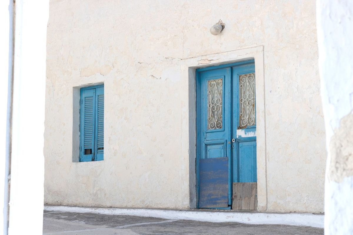 EyeEm Selects Blue Door Blue And White Santorini Door Architecture Entrance Window Built Structure No People Day Outdoors Door Window And Door Blue The Week On EyeEm