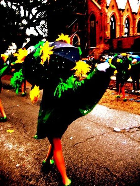 Mardi Gras Dancing Dancing Lady Umbrella Green Green Green!  Celebration NOLA Festival Marching Band
