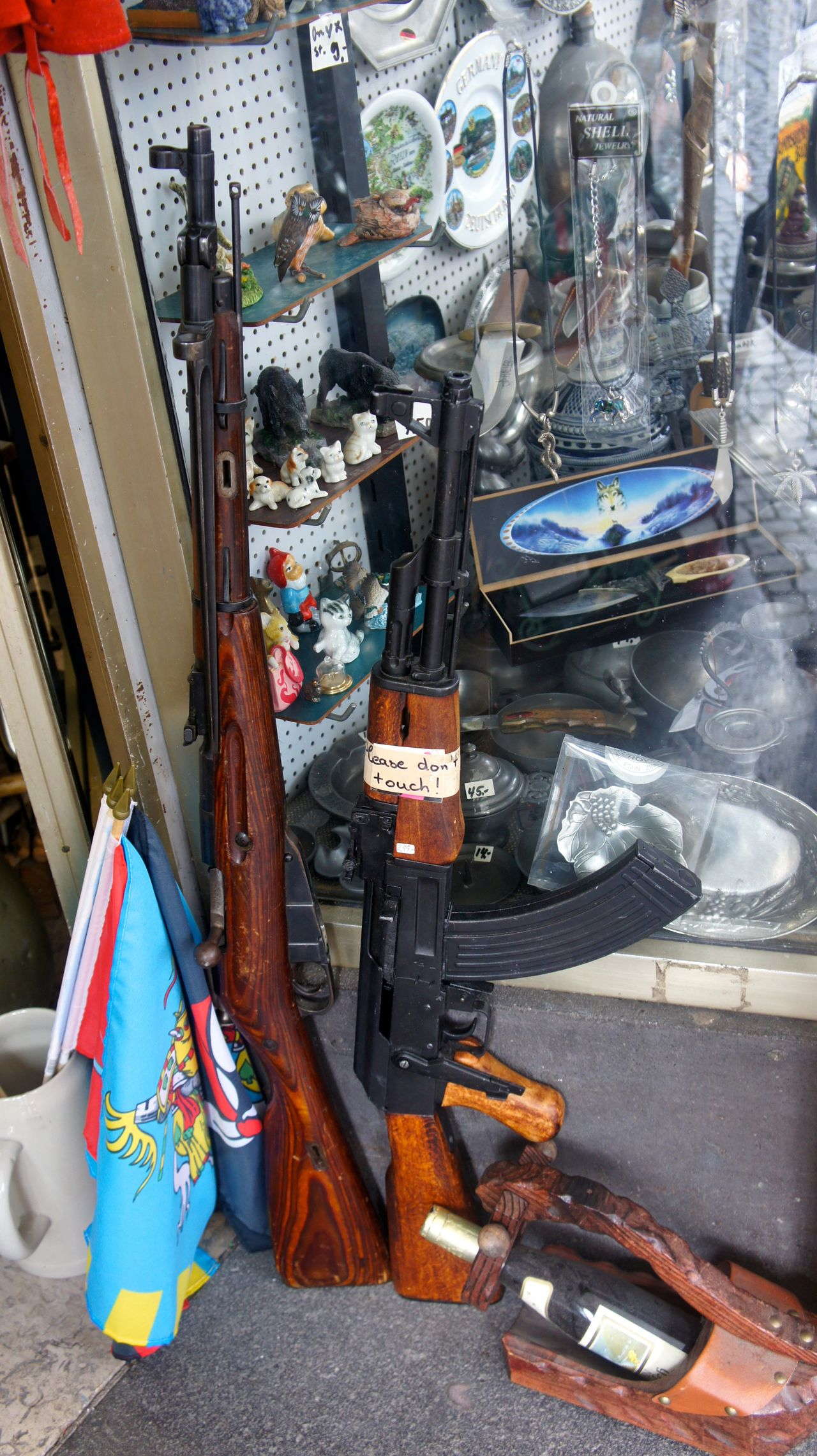 AK 47 Day Doorway No People Outdoors Rifle Shop Window Vertical