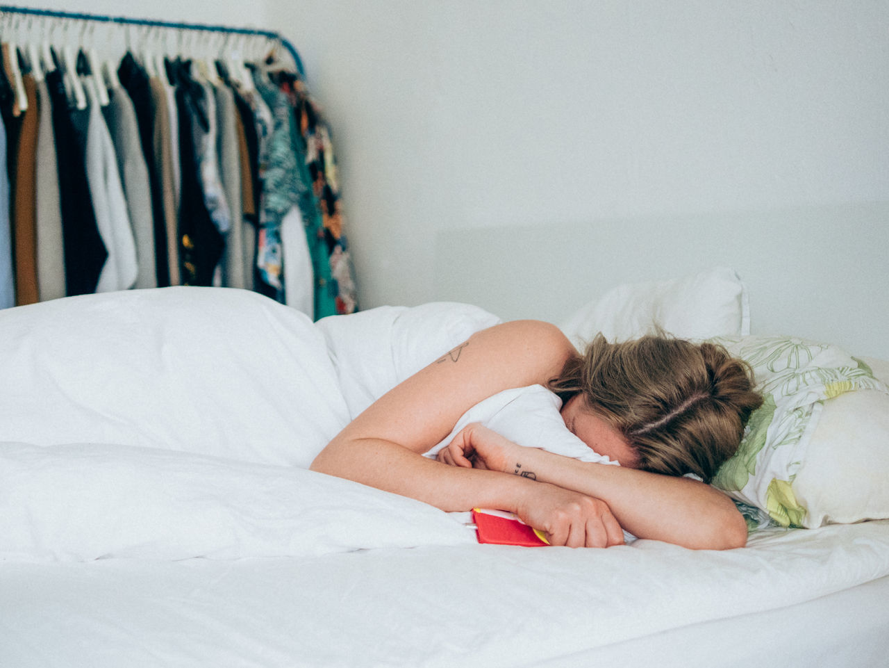 very very sad Bed Bedroom Blond Hair Crying Depression - Sadness Lying Down Obscured Face One Person Smart Phone Women Fresh On Market 2017