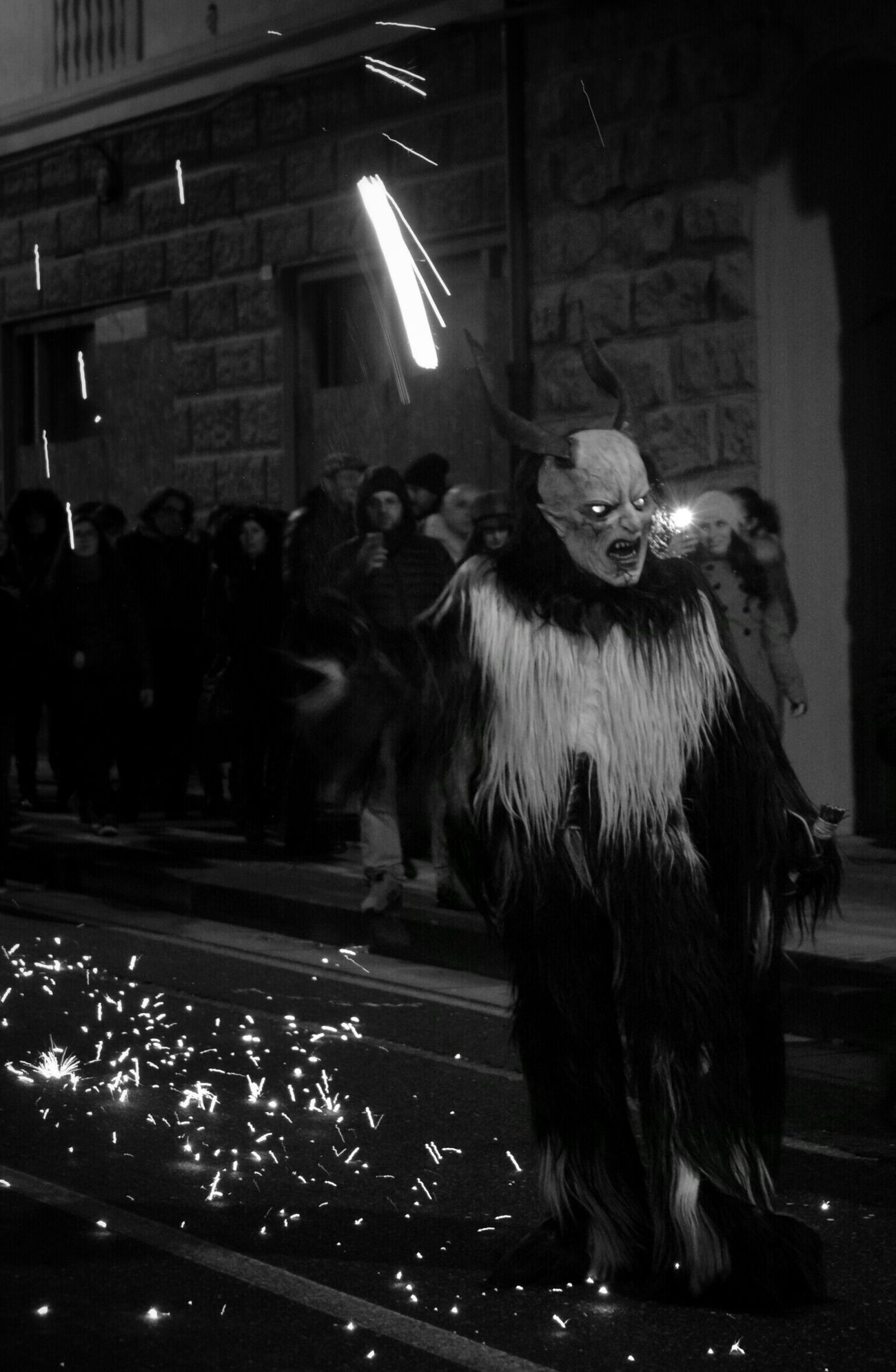 Night Photography Sparks Demon Sardinia Sardegna Italy  Culture Parade Sardegna Nikon D5200 Carnevale B&w Street Photography Streetphoto_bw Nightphotography Krampus Horns Costume Black And White Mask Black & White Black And White Photography