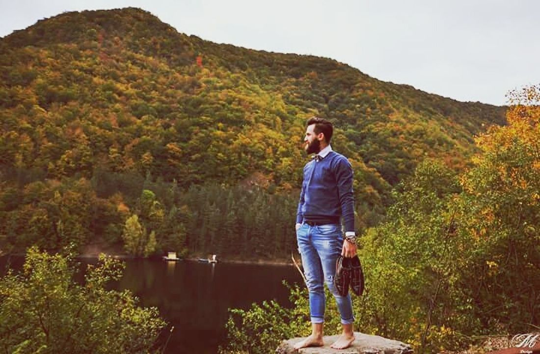 Man on the edge One Person Full Length Casual Clothing Jeans Adult One Man Only Adults Only People Only Men Outdoors Leisure Activity Standing Day Lake Nature Autumn One Young Man Only Men Young Adult Water