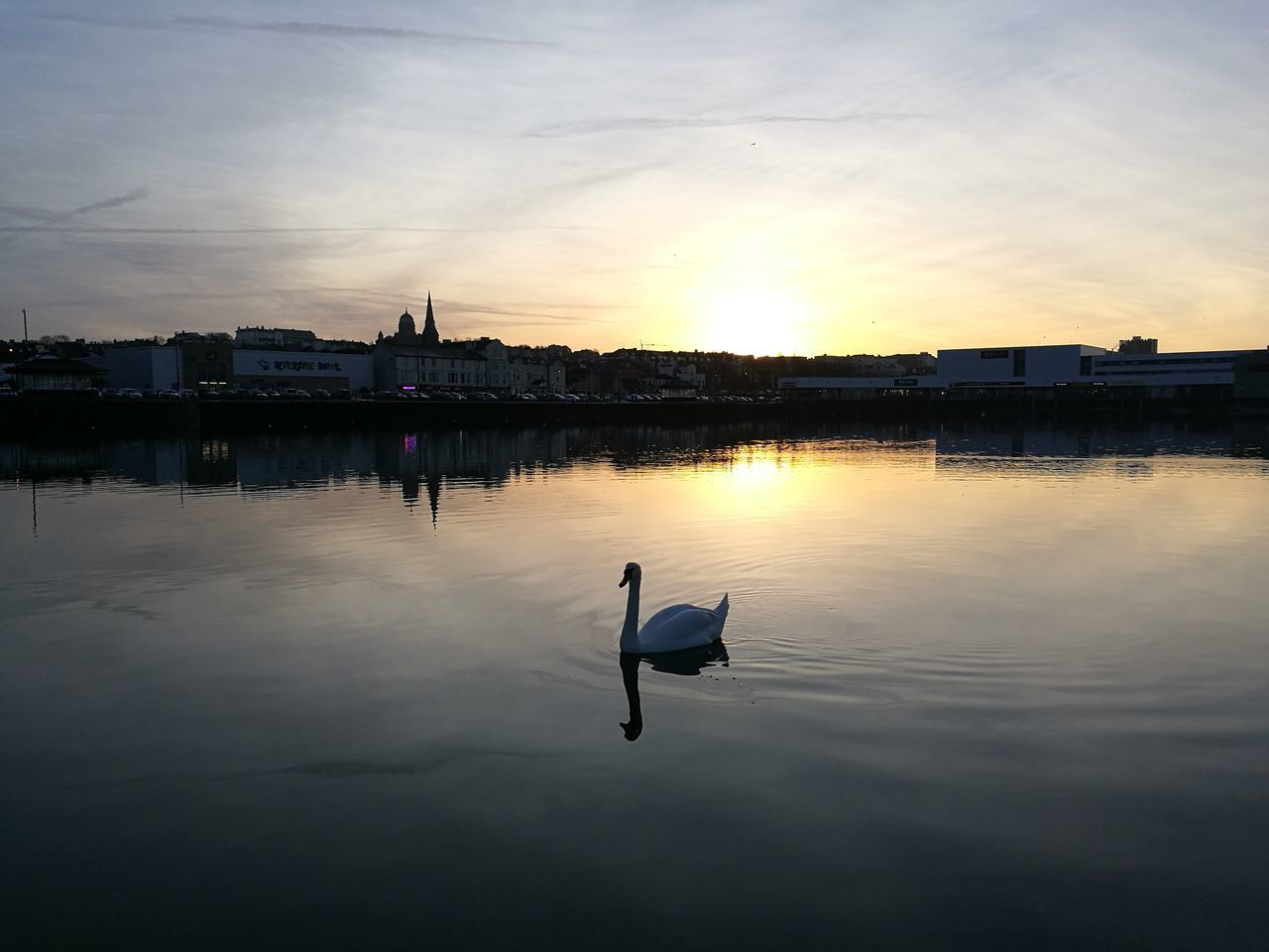 Sunset Water Reflection Tranquility Outdoors Cloud - Sky Lake Nature Swan New Brighton Wirral Merseyside Cheshire Marine Marina