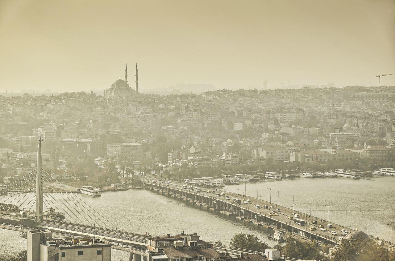 Architecture Bosphorus Bridge City Cityscape Day Galata Tower View Istanbul No People Outdoors Sepia Sky Turkey