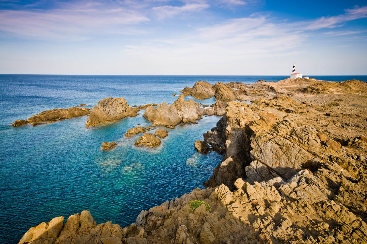 Beach Blue Sky Cap De Favaritx Cliffs Dog Es Grau Lighthouse Mallorca Menorca Nature Reserve Ocean Sea Sky Sunset Water