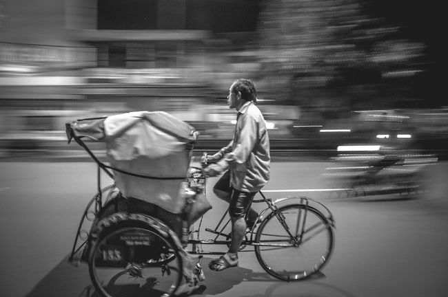 This is an indonesian traditional vehicle called becak Streetphotography Getting Inspired EyeEm Best Shots - Black + White EyeEm Best Shots - The Streets Blackandwhite Black And White Nightphotography EyeEm Best Shots Monochrome The Human Condition