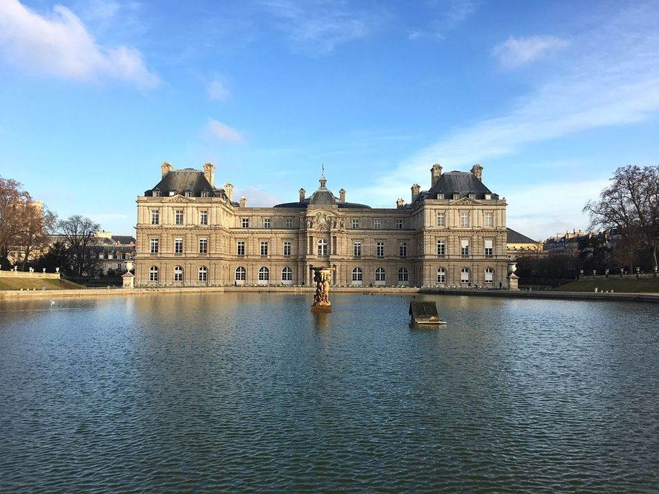 Building Exterior Architecture Built Structure Sky Water Waterfront Reflection River Outdoors No People Tree Day City Nature Architectural Detail Jardin Du Luxembourg Paris Façade