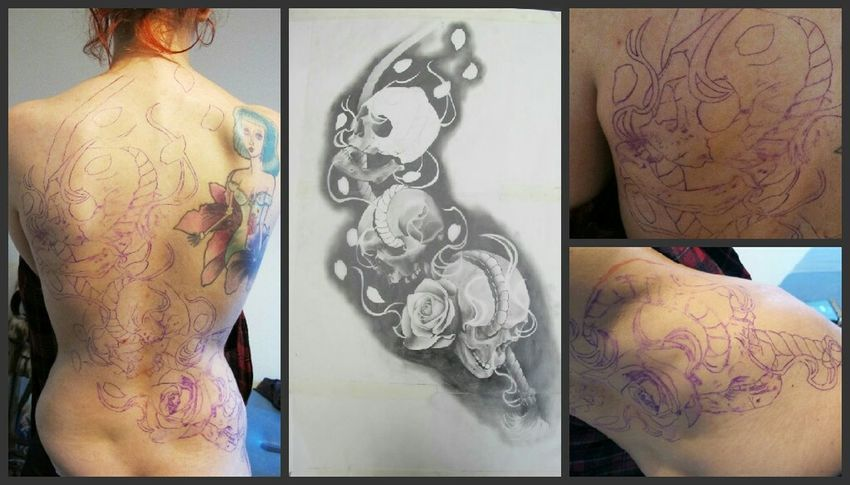 Just started this exciting backpiece Hvtattoo Tattoo Blackandwhite Inked Igportugal Backpiece Tattooartist