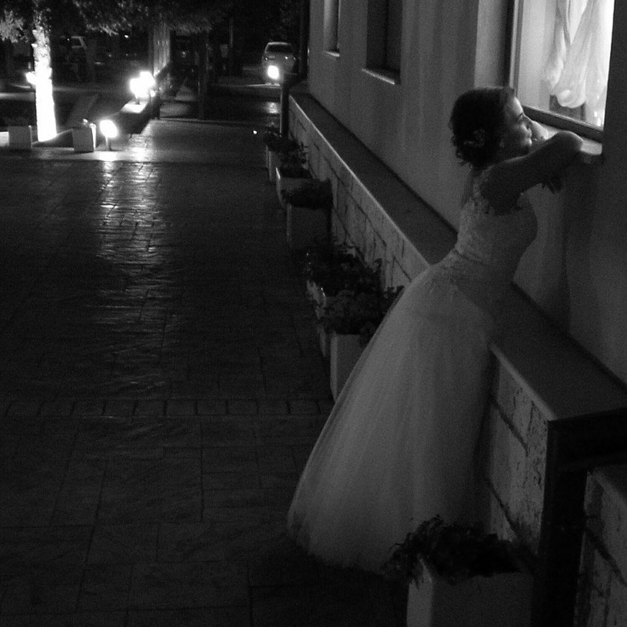 real people, women, lifestyles, night, illuminated, bride, one person, full length, indoors, young adult, wedding dress, people