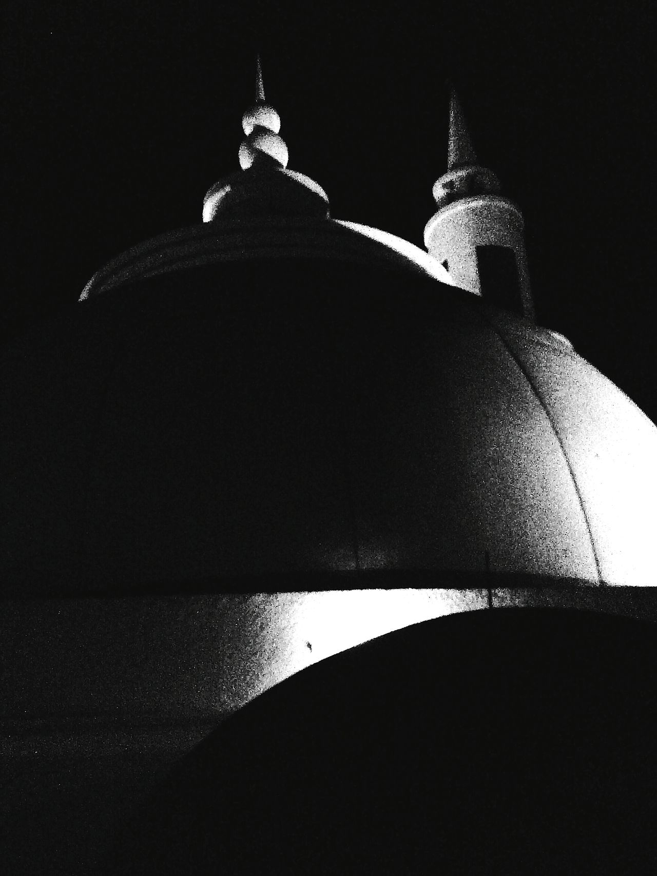 Dome of Masjid Al Fattah Jatinegara and its minaret's peak (background) Bnw Lowlight Rooftop View  Place Of Worship Religion spirituality Fine Art Photography