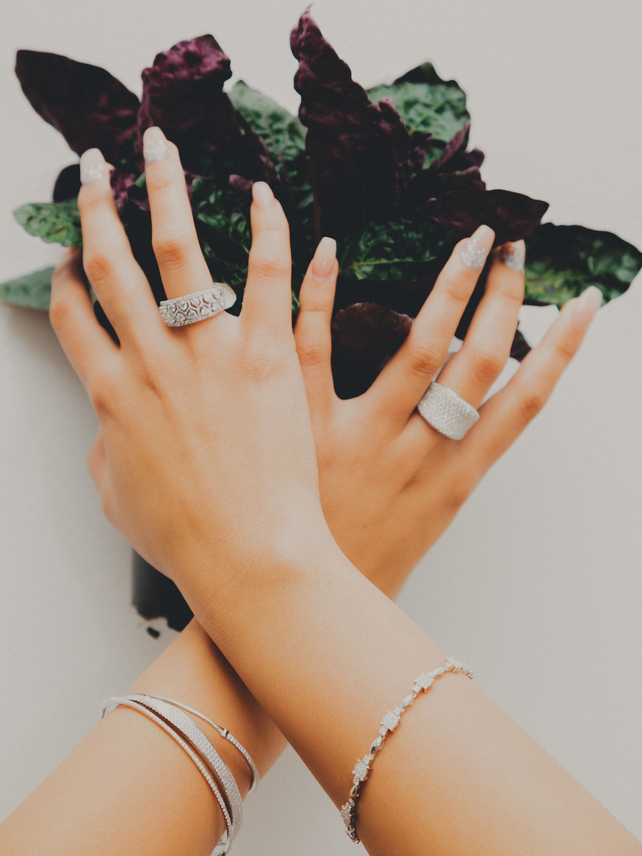 Adult Bangle Close-up Day Diamond Rings Food Freshness Holding Human Body Part Human Hand Indoors  Lifestyles Low Section One Person People Real People Rings White Background Women Young Adult