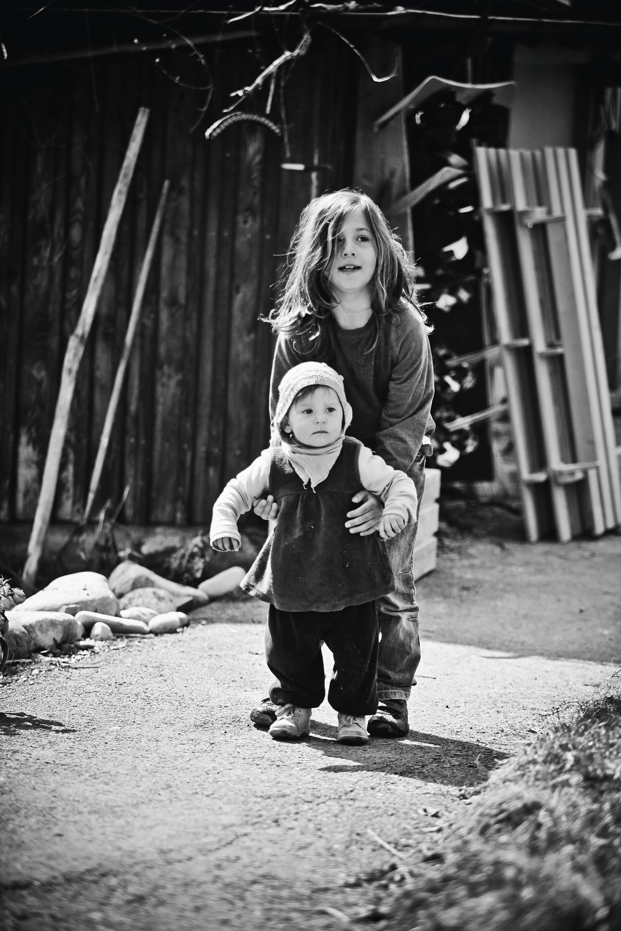 Child Children Only Childhood Boy Girl Big Brothers Little Girl Siblings Looking Looking Into The Future Two People People Exploring Life Enjoying Life Playing Togetherness Black & White Black And White Blackandwhite