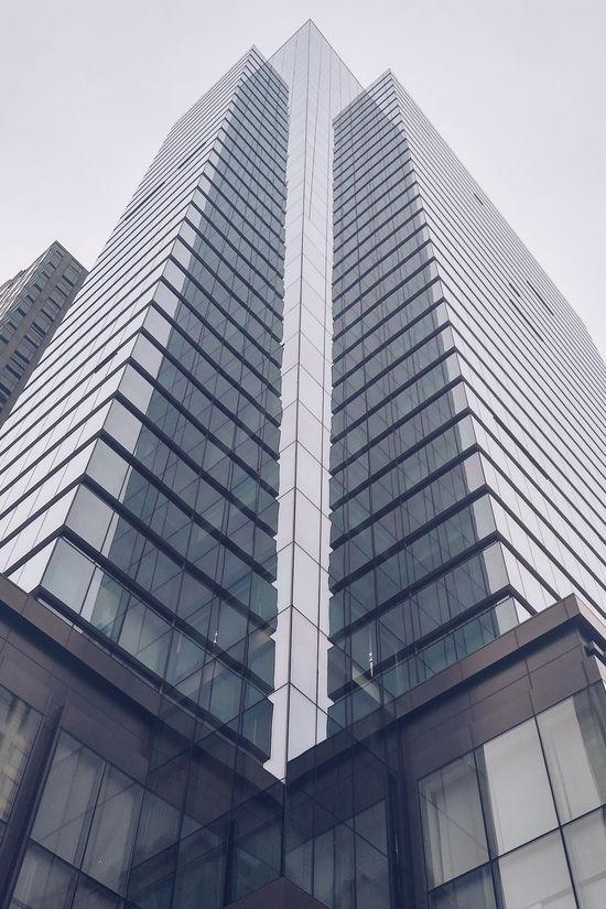 Look Up Building Exterior High Rise Sky Glass Metal Grey Gray Corner View