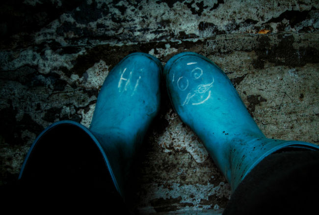 when youre sick and need to go outside and take photos...I made it to the steps lol Mission successful lol aaaand back in bed that was hard work ... Blue Directly Above Dirty Boots Hi Moustache Face Rubber Boots Smiley Face Stairs Textures And Surfaces