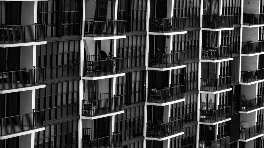 Apartment Architecture Backgrounds Balcony Building Building Exterior Built Structure City City Life Day Development Exterior Full Frame Ina R Modern No People Outdoors Repetition Residential Building Residential Structure Monochrome Photography