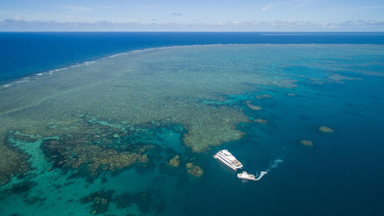Australia Beach Beauty In Nature Blue Diving Great Barrier Reef Nautical Vessel Outdoors Queensland Sea Sky Water