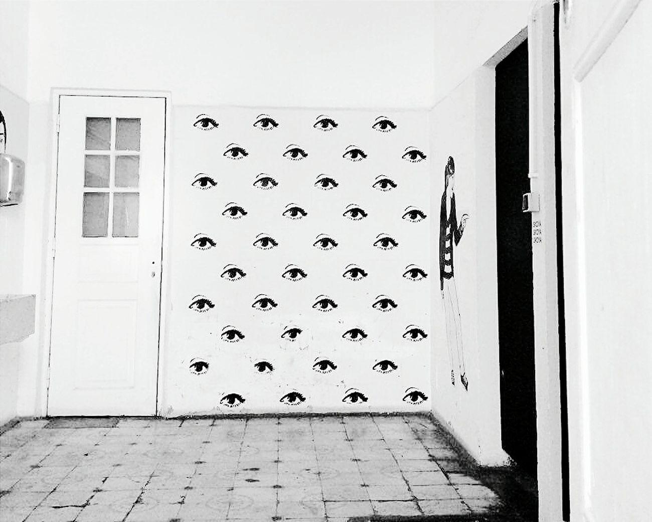 Public Places Lisbon Lx Factory Blackandwhite Black And White Eye Bathroom Pattern