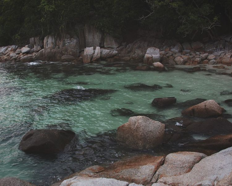 Pangkor Island Ocean Rocks Jungle Tourist Relaxing Travel in Malaysia South East Asia