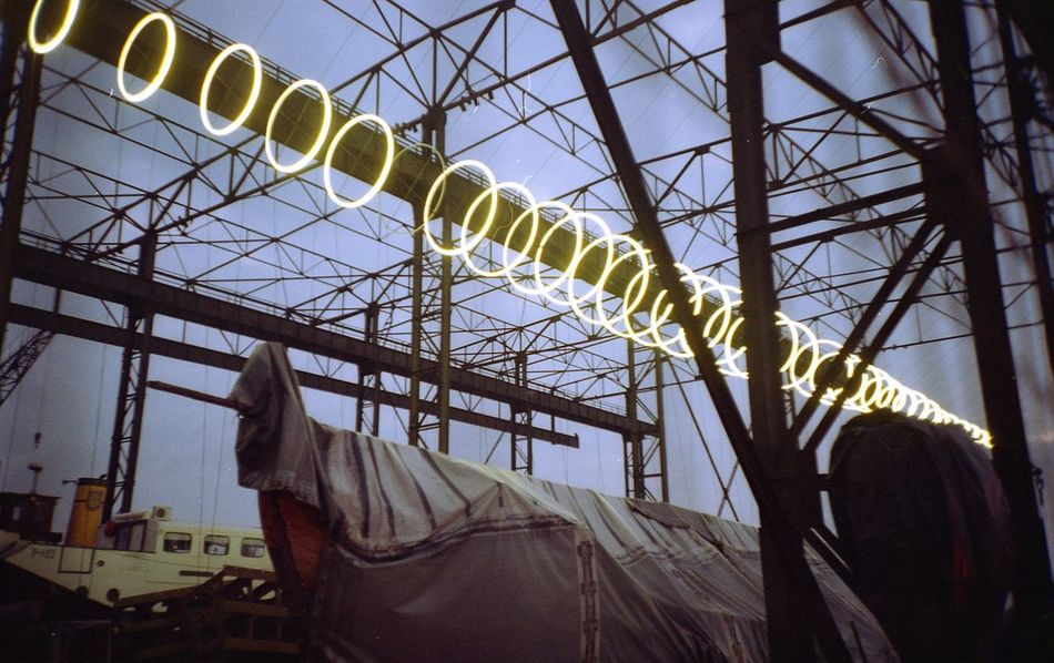 """The project of """"Lightforms"""" for Klaipeda Lights Festival 2016 called """"Elingas"""". I made a sound for it. Built Structure Festival Indoors  Lights Lomo Lomography No People Old Structure Ship Building Sky"""