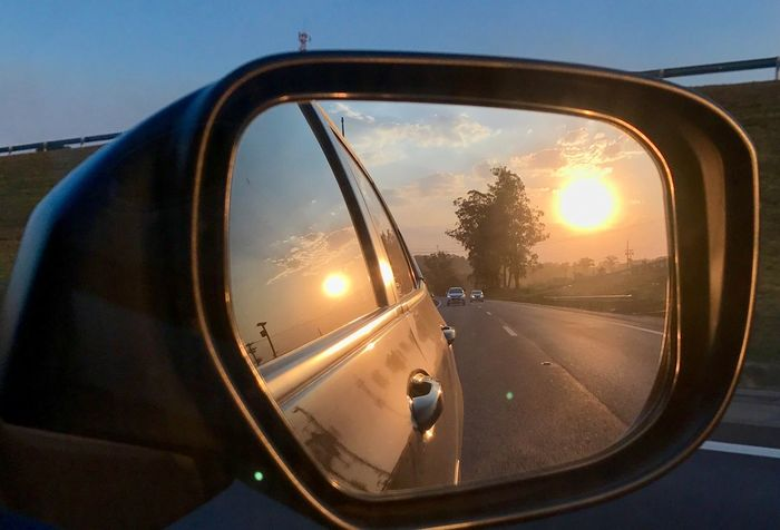 Side-view Mirror Car Land Vehicle Road Sunset Nature No People Transportation Sky