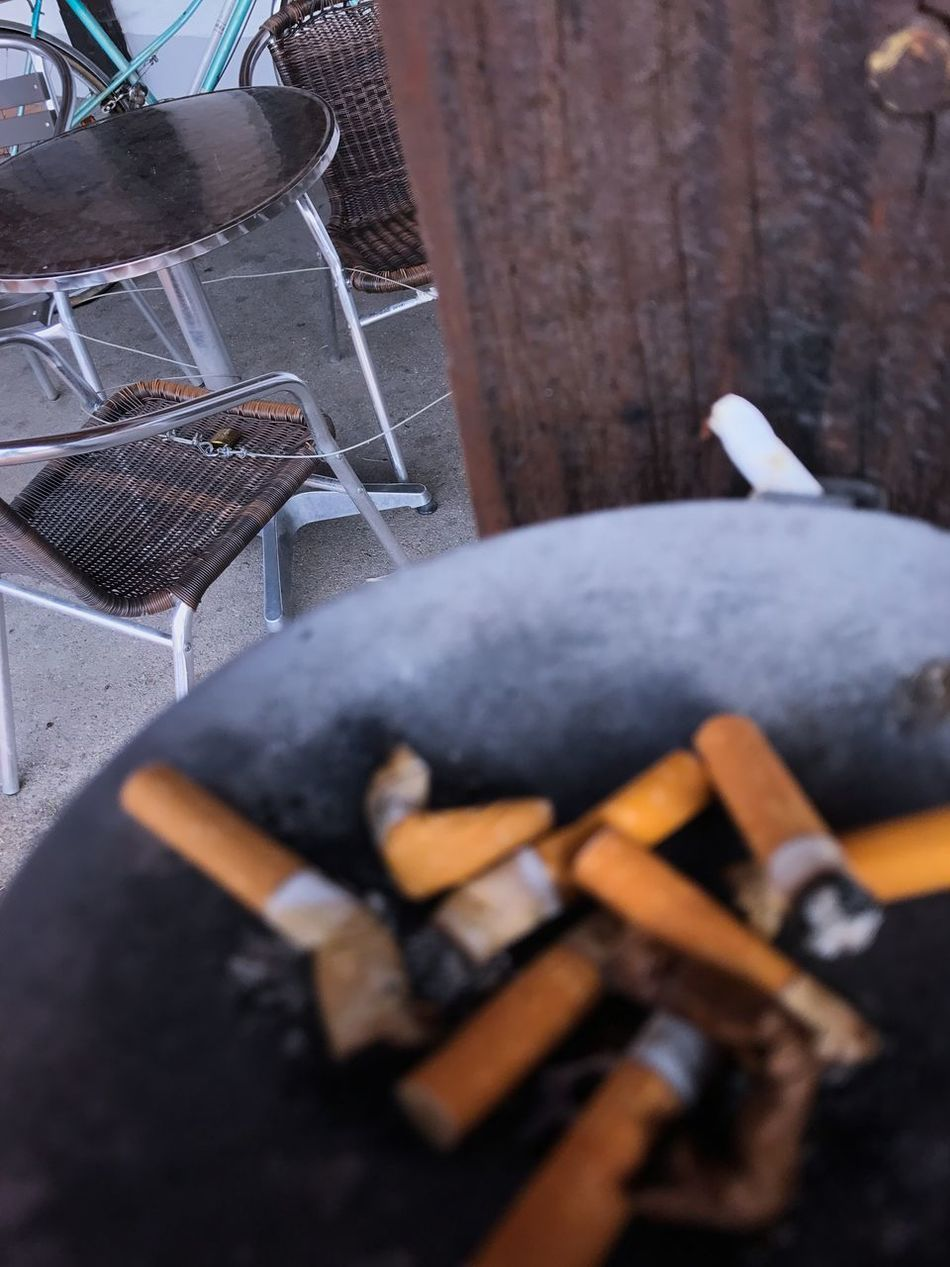 Ash Ashtray  Bad Habit Close-up Day High Angle View Large Group Of Objects No People Outdoors Selective Focus Table