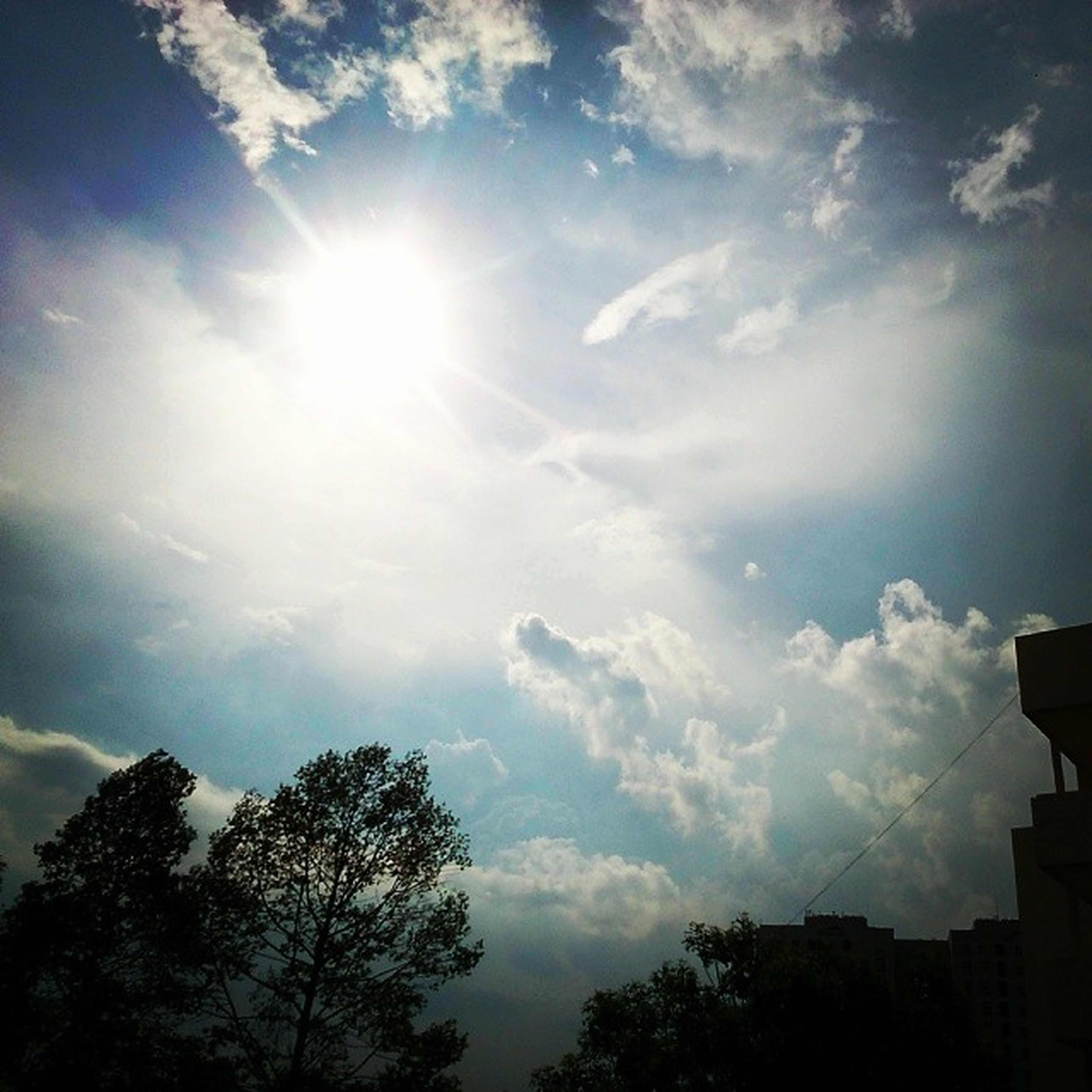 sun, sunbeam, sky, cloud - sky, tree, sunlight, low angle view, beauty in nature, lens flare, nature, tranquility, silhouette, cloud, scenics, tranquil scene, cloudy, bright, sunny, day, no people