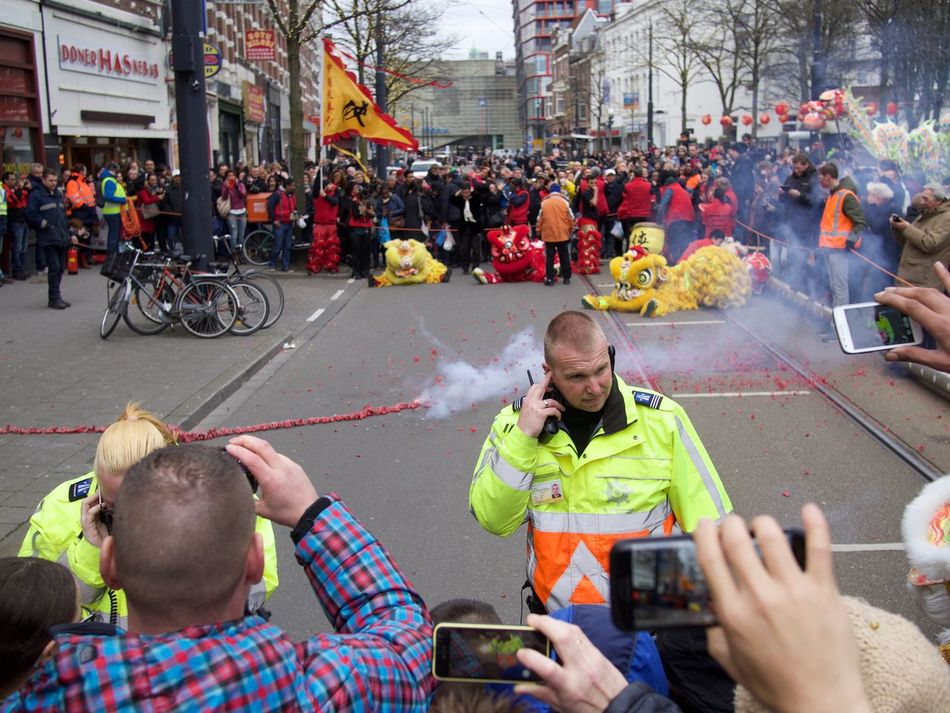Chinatown Chinese New Year Covering Ears Fireworks Large Group Of People Loud Real People Rotterdam