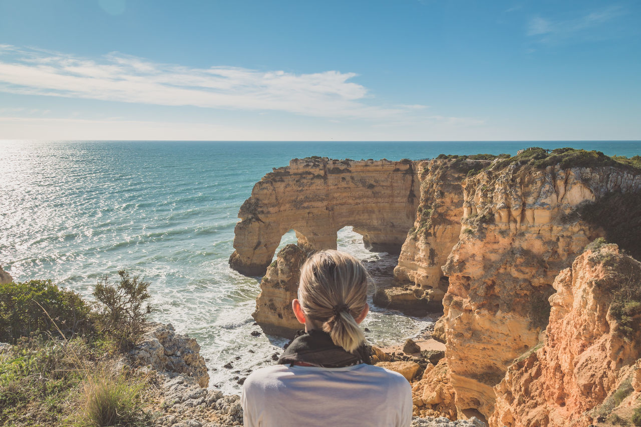 Back Of The Head Beach Cliffs Nature Outdoors People Photography Themes Rock - Object Scenics Sea Skyline Tourism View Watching