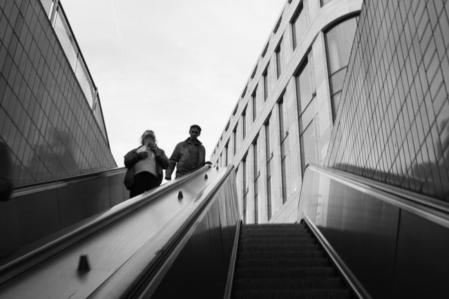Architecture Blackandwhite City City Life Day Escalator Leisure Activity Lifestyles Low Angle View Monochrome Moving Down Sky Staircase Stairs Subway The Street Photographer - 2016 EyeEm Awards The Way Forward