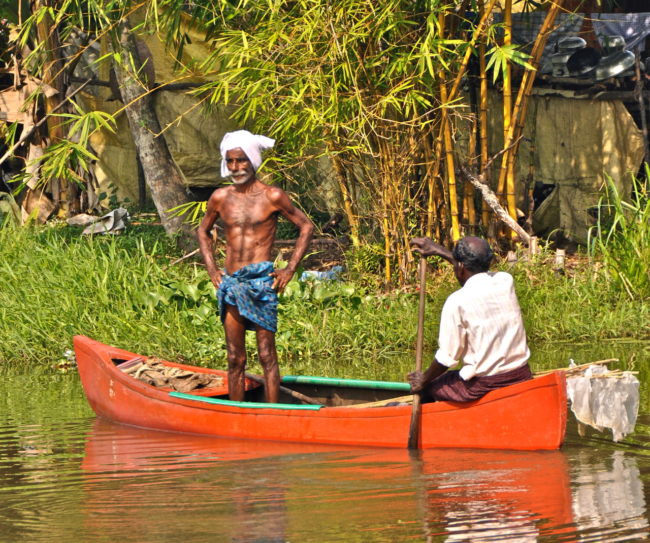 Boat Fisherman India Indian Man Kerala