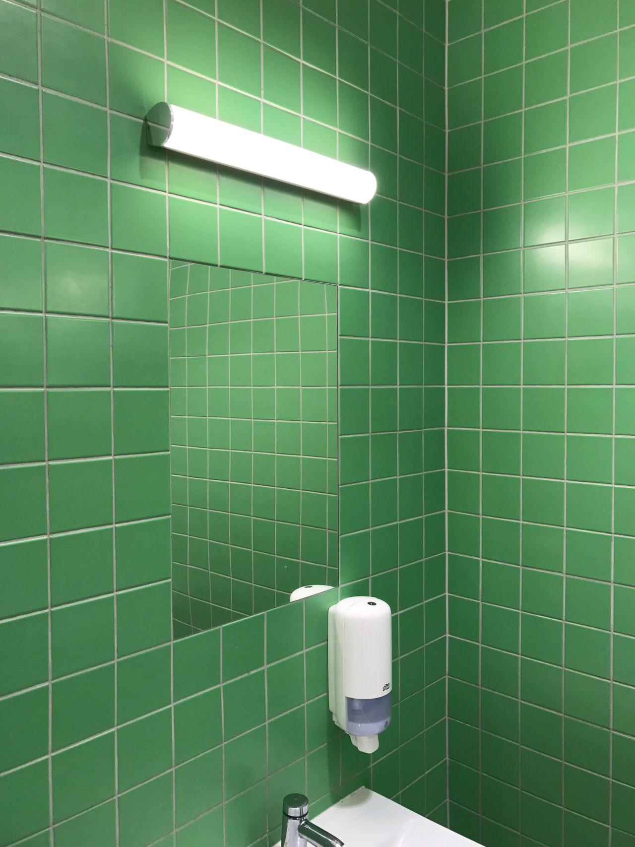 Tile Public Restroom Bathroom Public Building Indoors  Green Color Urinal No People IKEA Restroom Minimalism Interior Minimal Aesthetics Aesthetic Minimalistic Empty Tiles Mirror Neon Texture Green Toilet Clean Reflection
