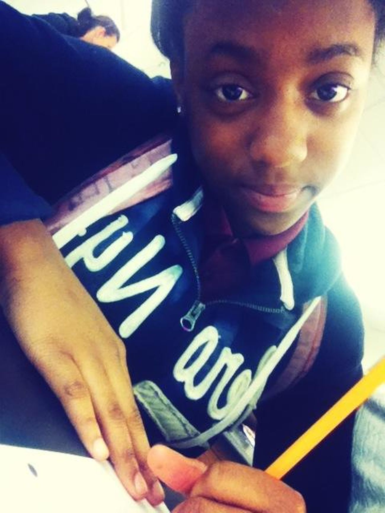 # The Lil Sis In Class Doin Work ,go Girl <3