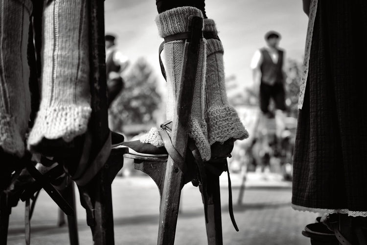 close-up of feet of Bergers Landais on stilts with typical clogs and socks Berger Landais Close-up Dance Day Feet Bergers Landes Sheperd Low Section Outdoors Real People Socks Stilts Unrecognizable Person échasses The Street Photographer - 2017 EyeEm Awards