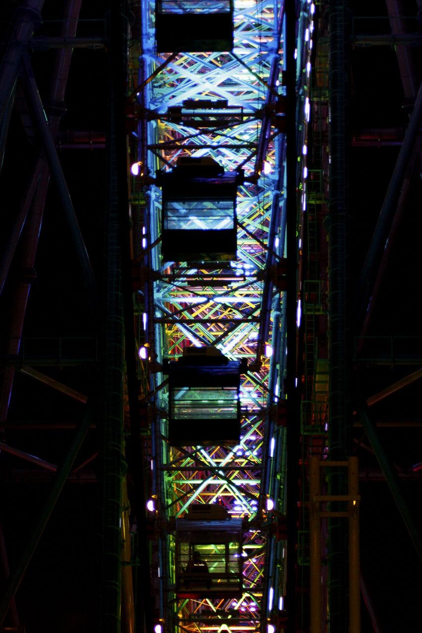 amusement park, architecture, built structure, no people, low angle view, outdoors, day, amusement park ride, sky