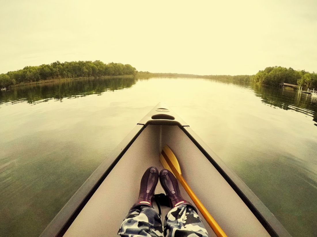Early Morning Canoeing Canoe Saltsprings Reflection Water Nautical Vessel Lake Nature Mode Of Transport Beauty In Nature Tranquility Clear Sky Day Scenics Outdoors Tree No People Sky