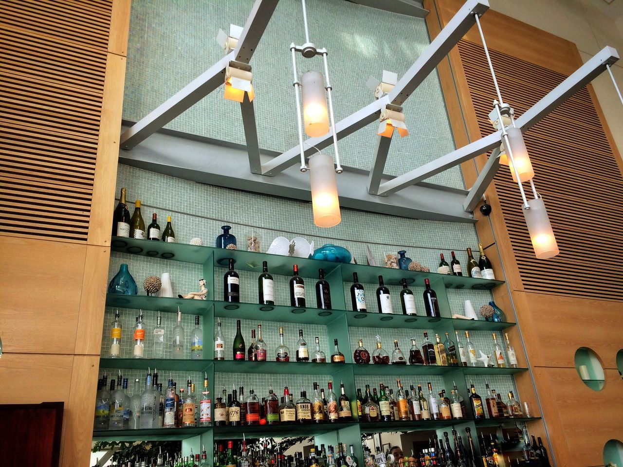 Showcase June Bar Bottles Collection Green Color Lights Mirror Cliff House Restaurant San Francisco Relaxing No People Travel Destinations
