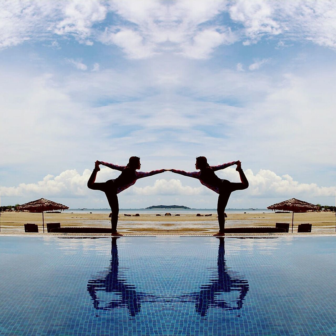 two people, swimming pool, real people, leisure activity, full length, men, exercising, lifestyles, yoga, water, arms raised, cloud - sky, day, wellbeing, sky, arms outstretched, balance, healthy lifestyle, standing, togetherness, young men, outdoors, young adult, architecture, young women, flexibility, adult, adults only, people