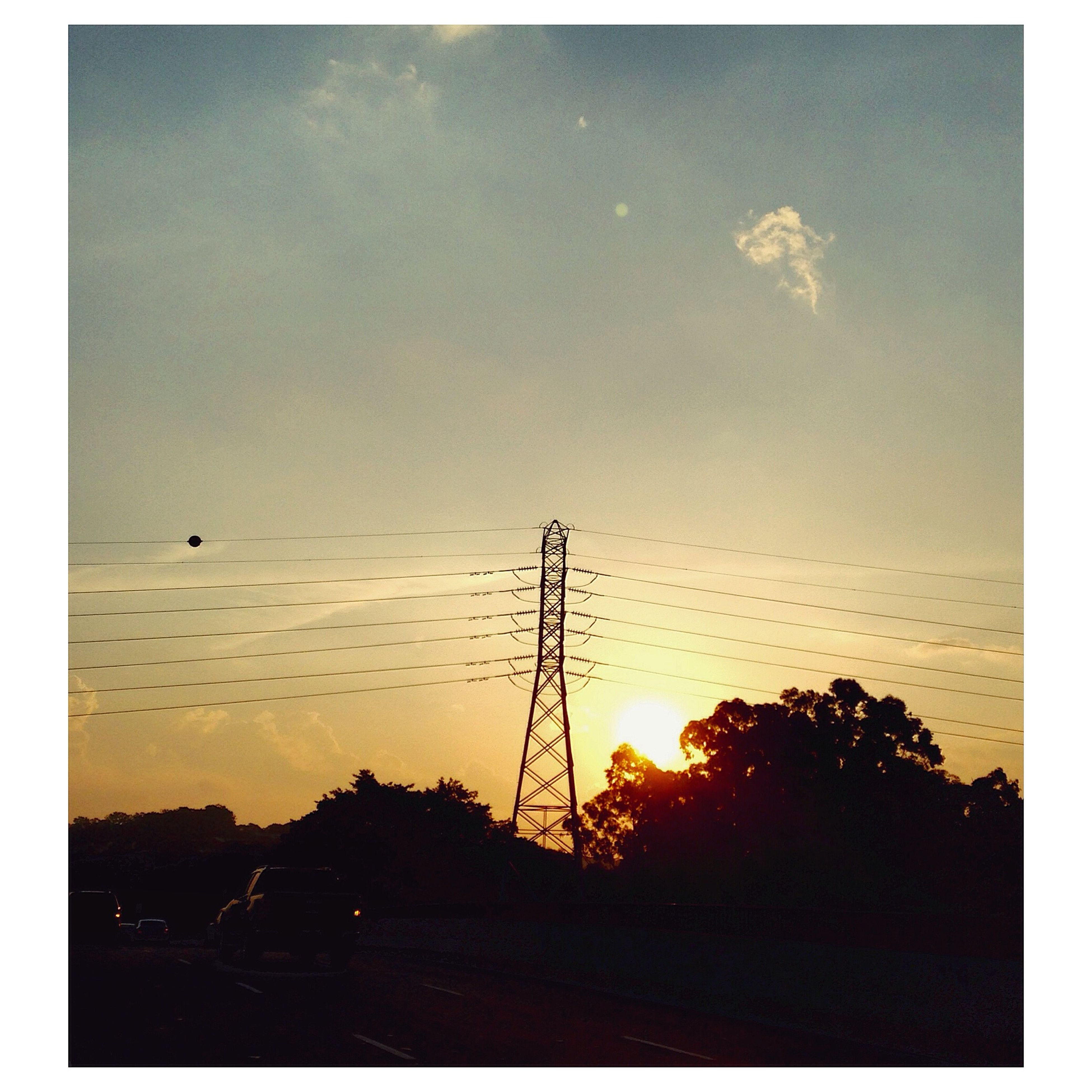 silhouette, sunset, power line, electricity pylon, sky, electricity, transfer print, low angle view, power supply, connection, fuel and power generation, nature, beauty in nature, tranquility, auto post production filter, scenics, tranquil scene, animal themes, sun, orange color