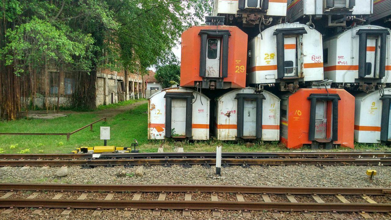 railroad track, rail transportation, transportation, train - vehicle, outdoors, public transportation, day, no people, locomotive, sky