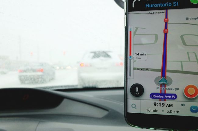 navigating through the blizzard using waze GPS Traffic Traffic Jam Car Transportation Mode Of Transport Land Vehicle No People Day Indoors  Close-up