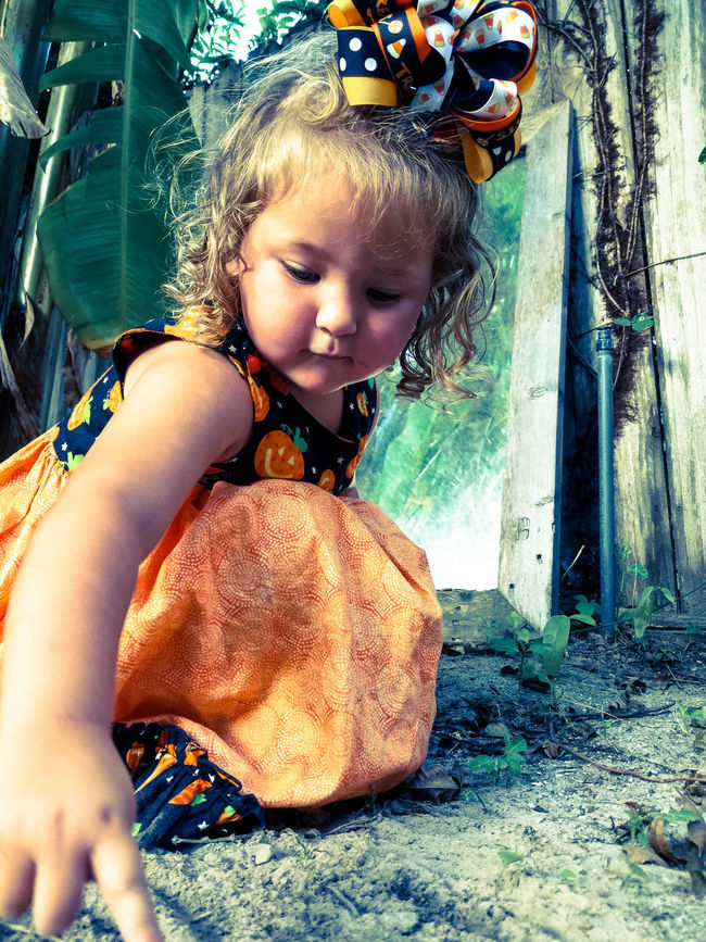 Carefree Casual Clothing Child Childhood Cute Day Dirt Dress Girl Halloween Innocence Leisure Activity Mirror Orange Outdoors Outside Person Playing Reflection Seasonal Summer