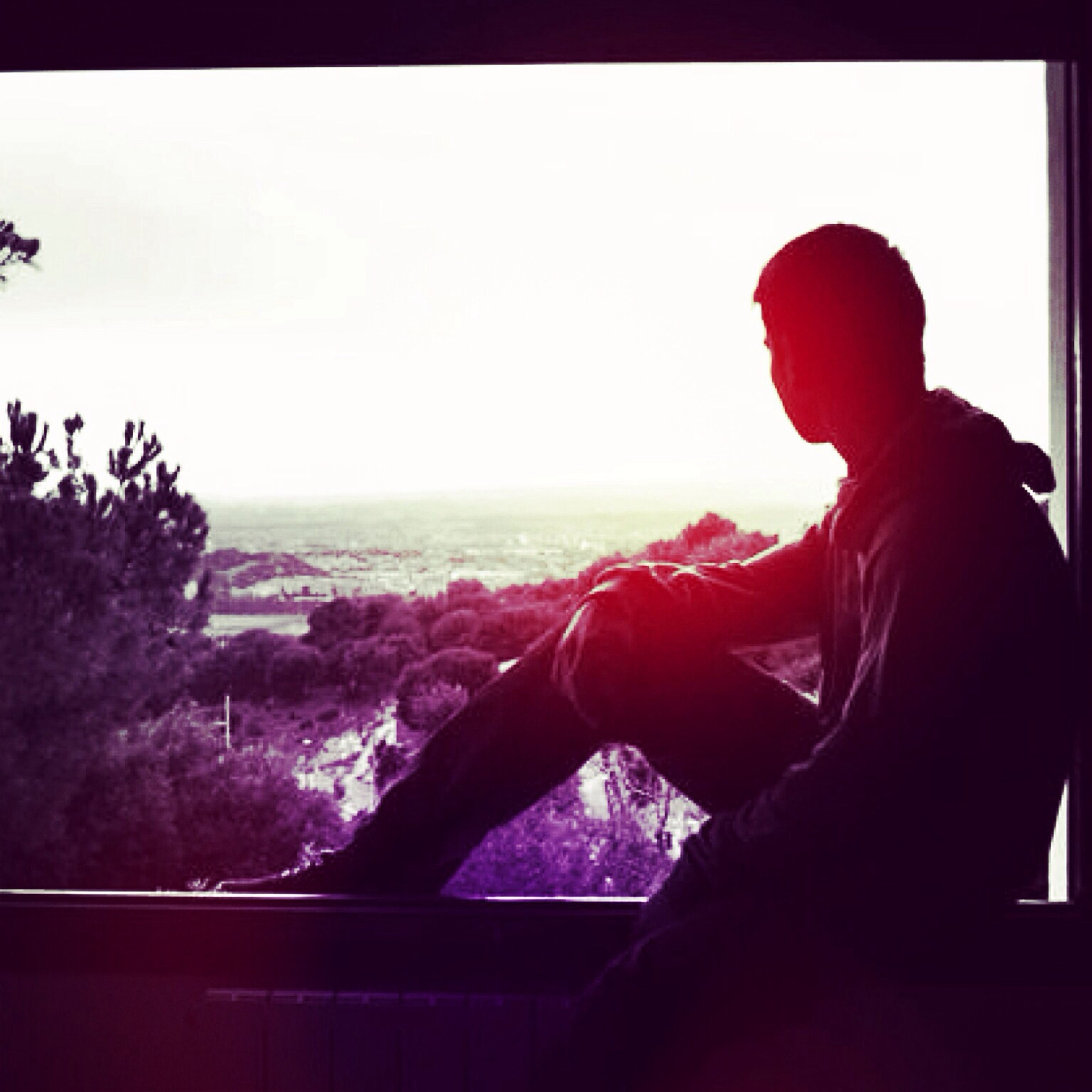 lifestyles, leisure activity, clear sky, silhouette, sitting, person, copy space, sky, standing, rear view, three quarter length, indoors, looking at view, men, waist up, side view, sunset, nature