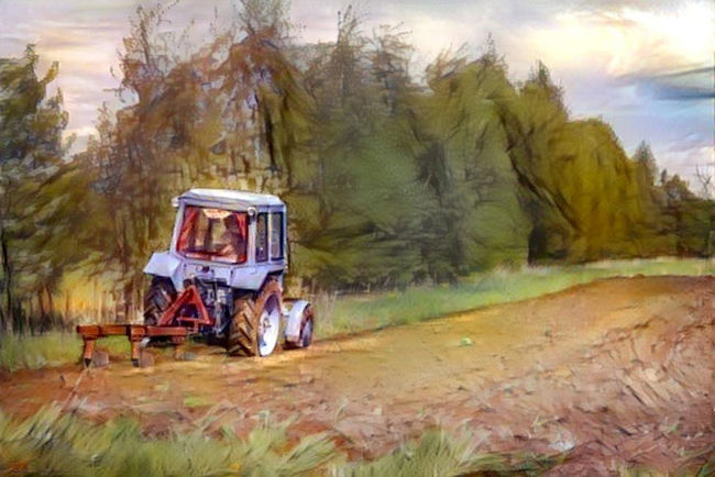 Tractor plowing the land. Spring. Drawing from my photography. Drawing Field Landscape Nature Outdoors People Plowed Field Plowing Plowing The Fields Rural Scene Russia Spring Tractor Tree Vehicle