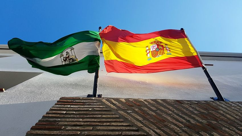 Flying Flag Sky No People Outdoors Day Europe SPAIN Windy Day Patriotism Brexit Village In Spain Flags Mountain Village Spanish Flag Spanish Culture Spanish Colonial Eurovision Historic Traditional Spainish Town Country Pride Country European Country Authentic Spain
