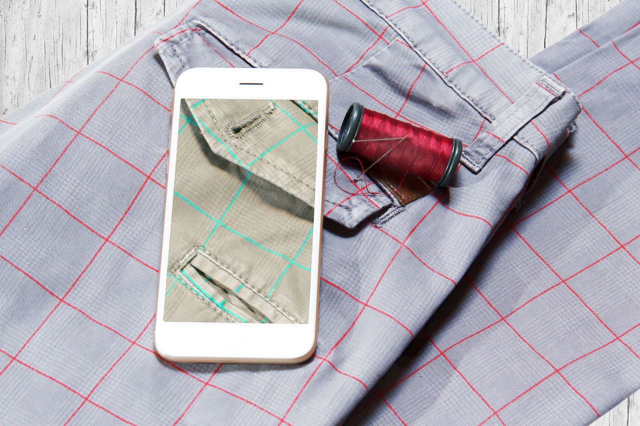 Trousers and smartphone, tailor concept. Smartphone change the color of the trousers. cClose-up cConceptual Photography  cCotton dDetail fFabric FFashion fFashionblogger h Tailored To You lLifestyles mMacro nNeedle PPants pPocket  SScottish SSewing SShow sSmartphone SSquare sStrange TTailor tTechnology tThread tTrousers WWood