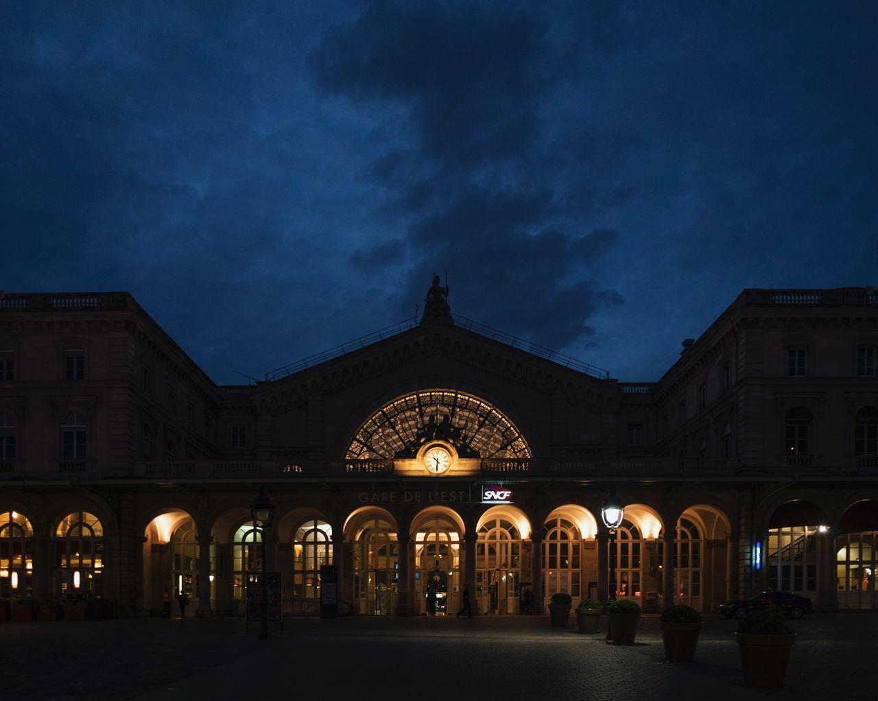 Architecture Astronomy City City Gate Cloud - Sky France Gare Du Nord Illuminated Night No People Outdoors Paris Paris, France  Sky Travel