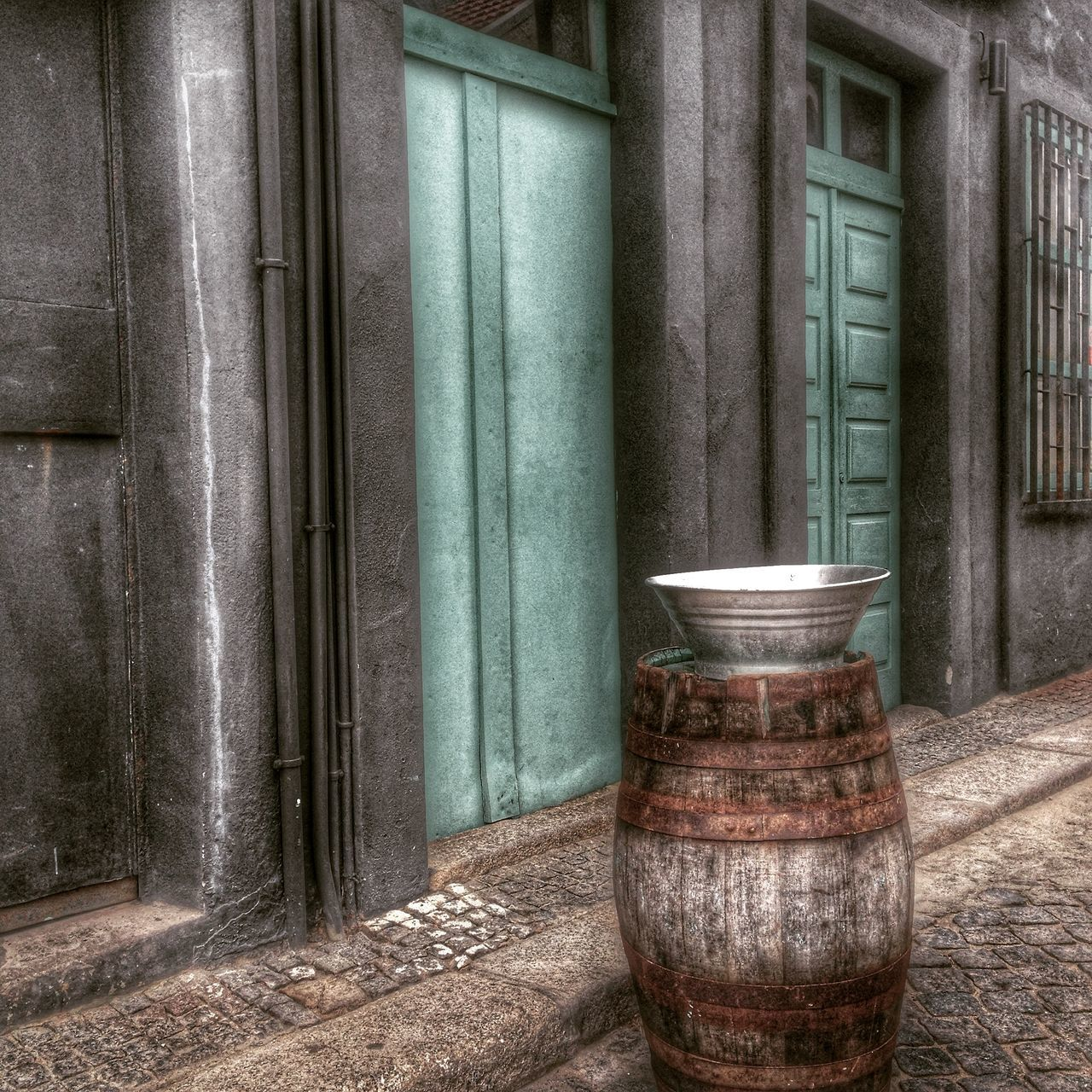 no people, day, barrel, architecture, window, built structure, outdoors, wine cask